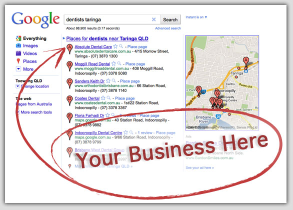 how to find website google places api